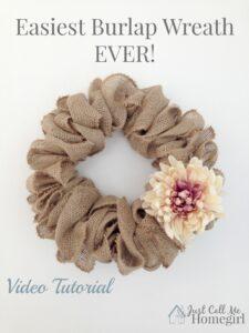 Easiest Burlap Wreath Video Tutorial