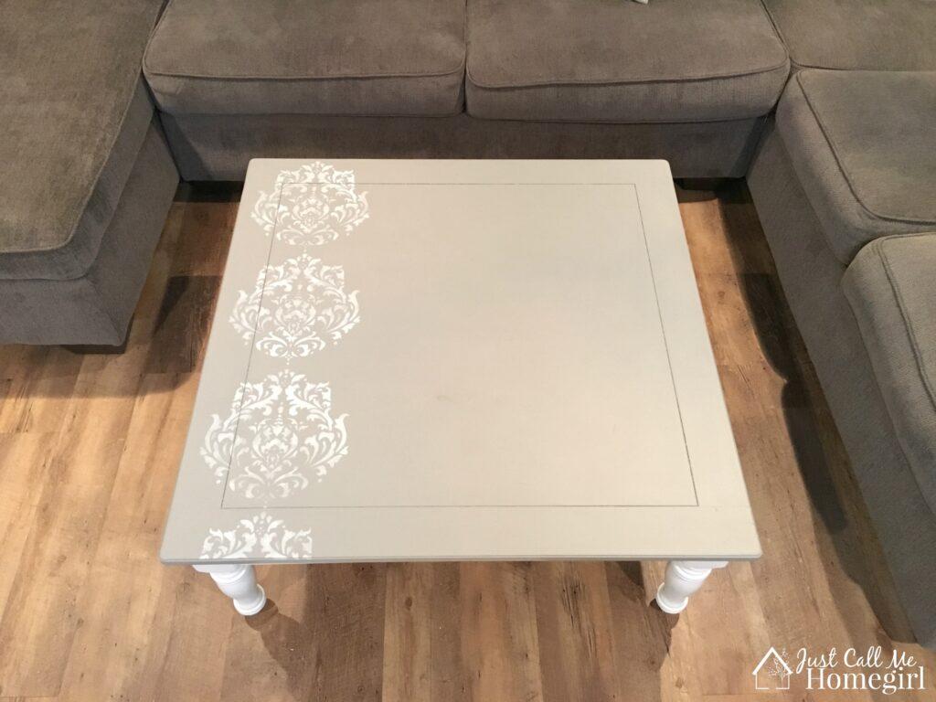 Farmhouse stenciled coffee table