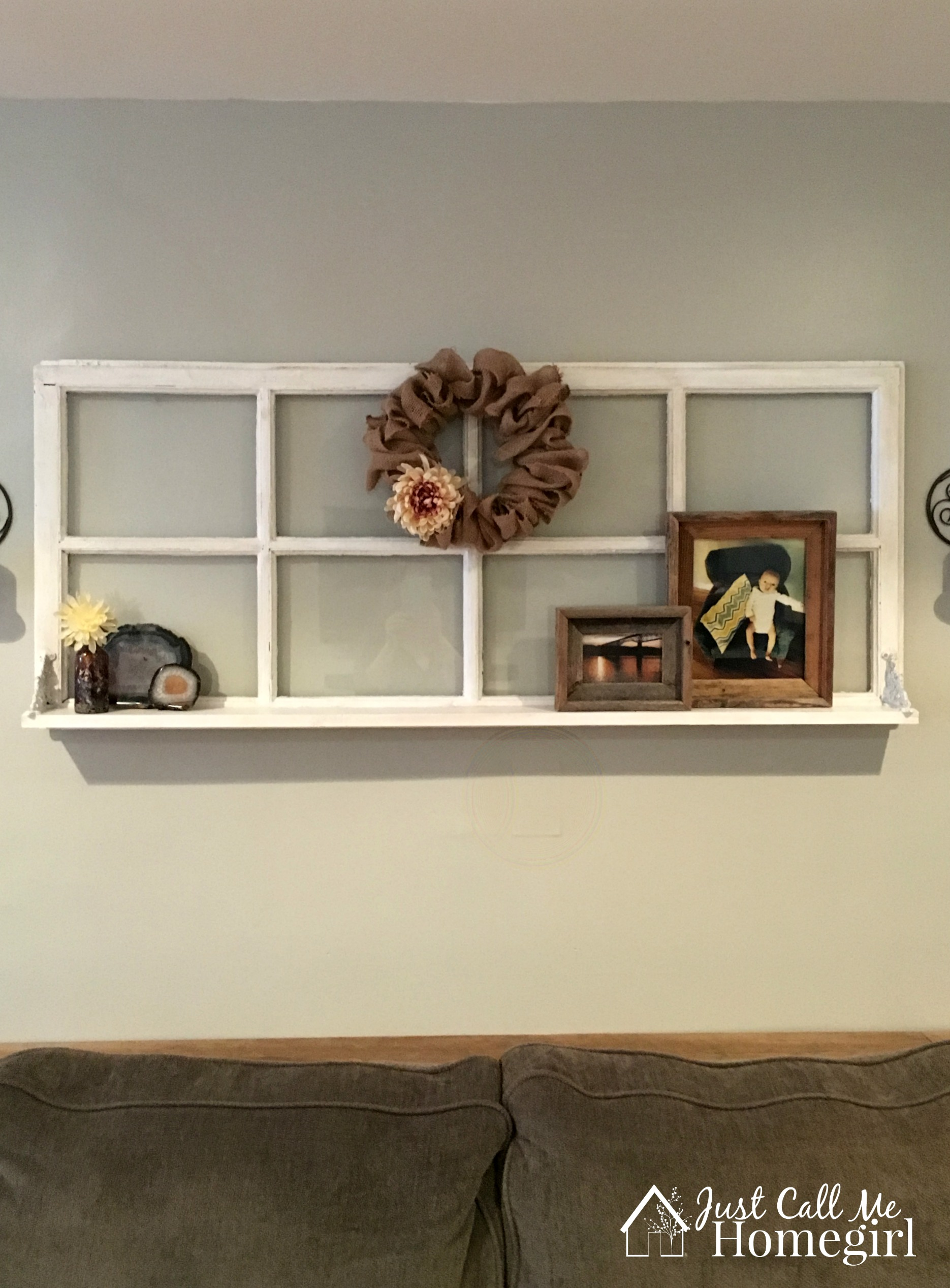 Adding a shelf to an old window just call me homegirl for Large kitchen wall decor
