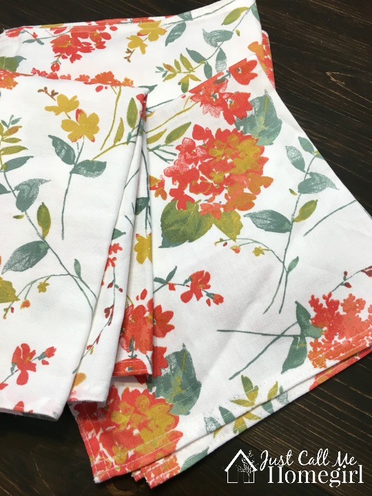 Fabric Napkins before being sewn into pillows