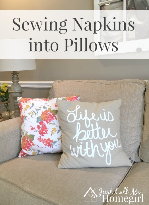 How to sew napkins into pillows!