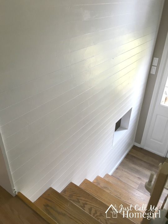 DIY Faux Shiplap entry wall