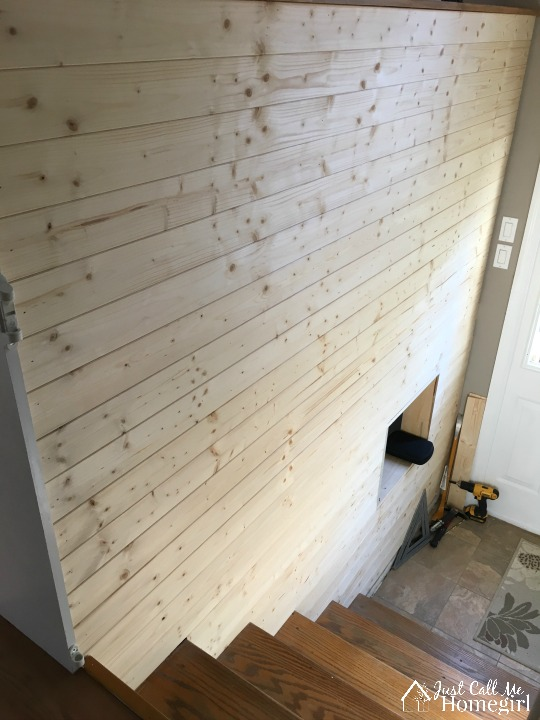 faux shiplap before paint