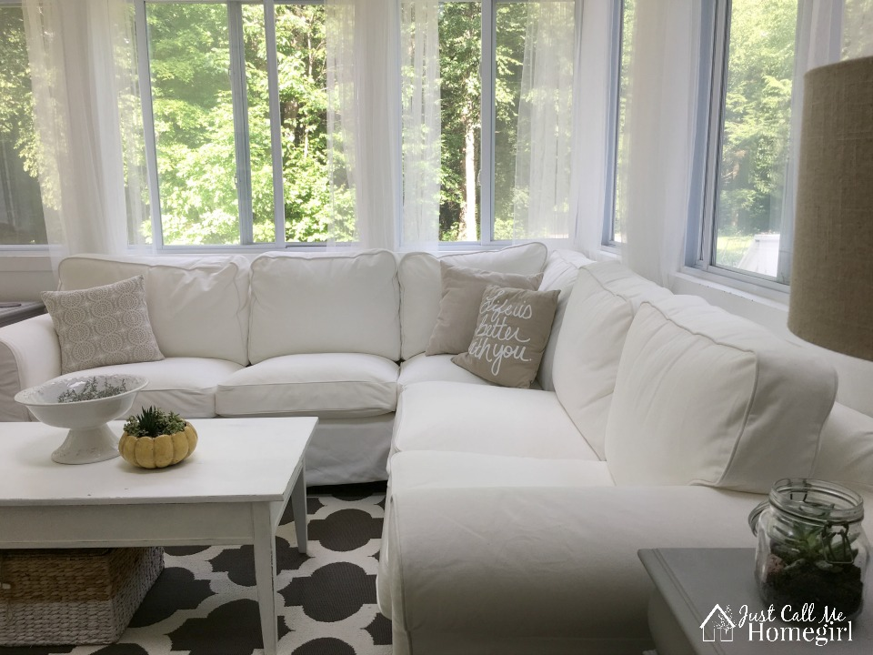 White sunroom couch