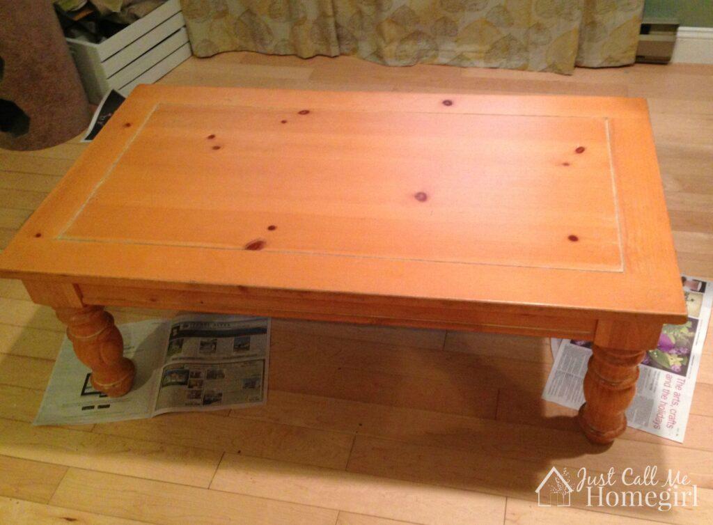 Farmhouse coffee table before