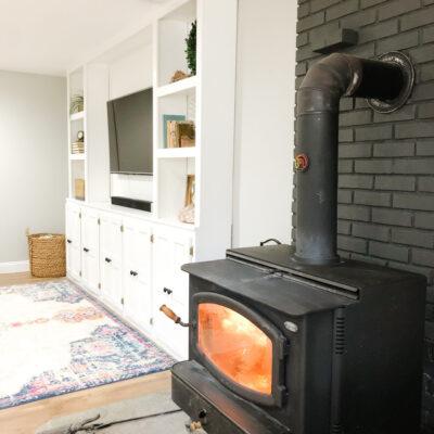 Painted Brick Wood Stove Fireplace